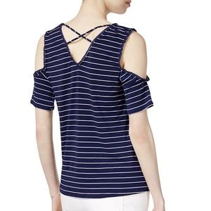 Maison Jules Navy Striped Cold Shoulder Top NWT